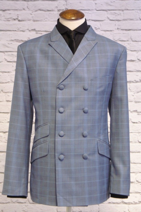 """Lewis"" Sky Blue Check 8 Button Double Breasted Suit"